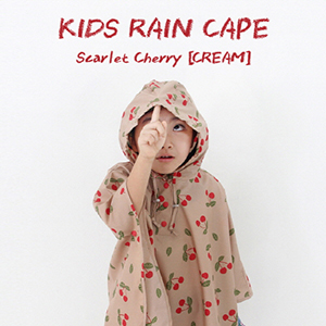 KIDS RAIN CAPE Scarlet Cherry [CREAM] 아동용 우비